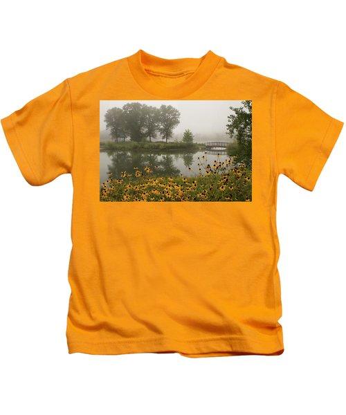 Misty Pond Bridge Reflection #3 Kids T-Shirt