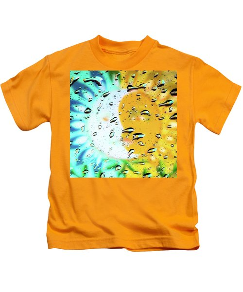 Moon And Sun Rainy Day Windowpane Kids T-Shirt