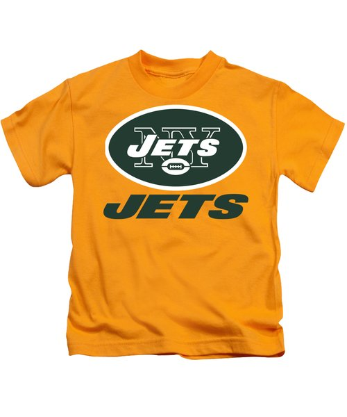 New York Jets On An Abraded Steel Texture Kids T-Shirt