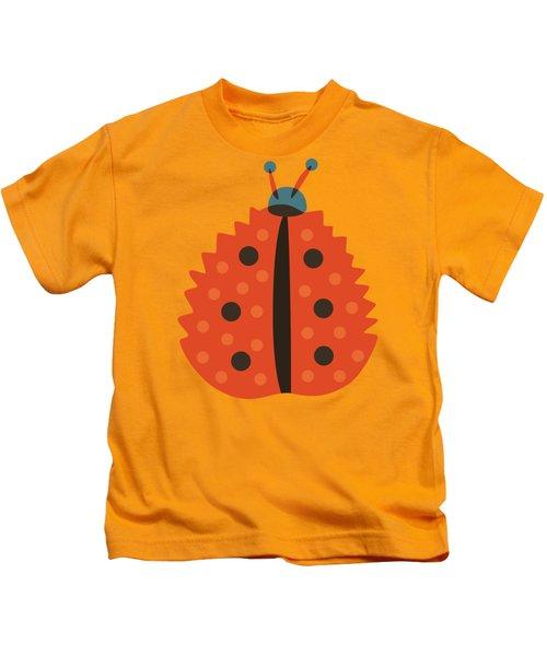 Orange Ladybug Masked As Autumn Leaf Kids T-Shirt