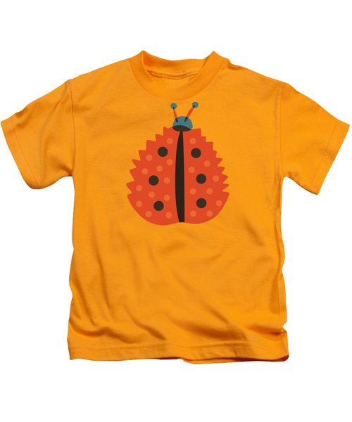 Orange Ladybug Masked As Autumn Leaf Kids T-Shirt
