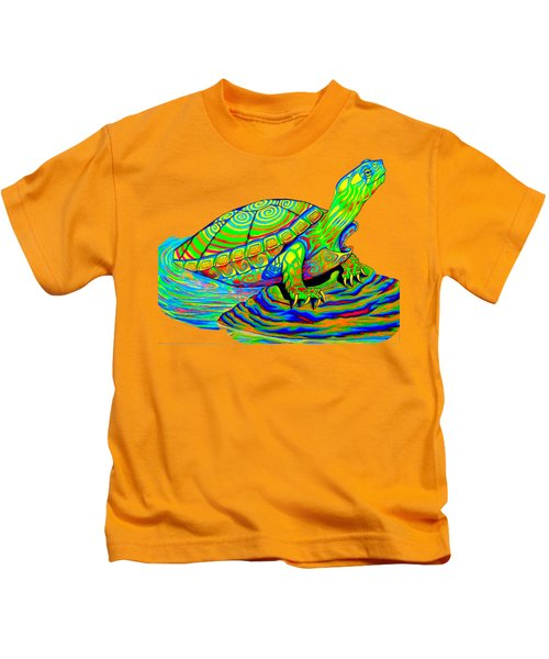 Painted Turtle Kids T-Shirt by Rebecca Wang