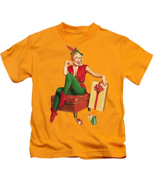 Pin-up Sexy Elf Woman With Gift Kids T-Shirt