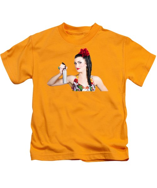 Pinup Woman Holding A Cleaning Spray Bottle Kids T-Shirt