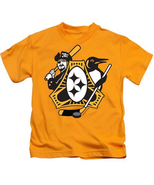 Pittsburgh-three Rivers Roar Sports Fan Crest Kids T-Shirt