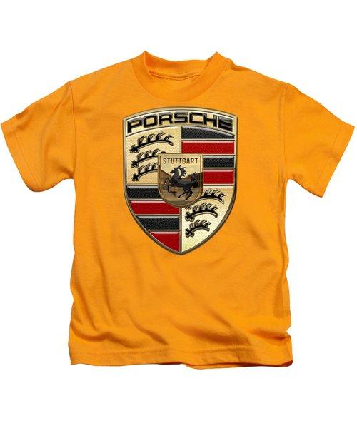 Porsche - 3d Badge On Yellow Kids T-Shirt