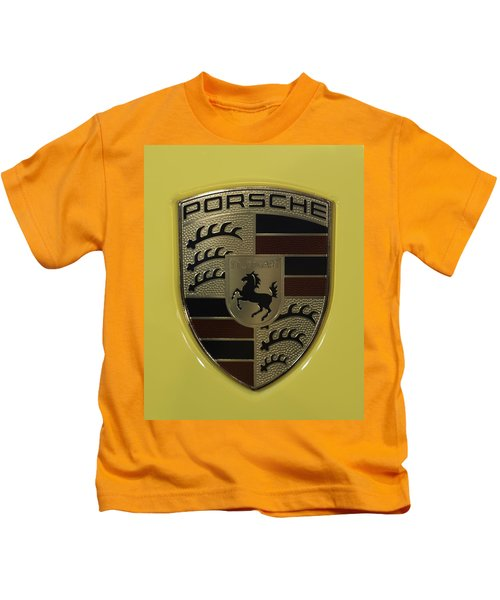 Porsche Emblem On Racing Yellow Kids T-Shirt