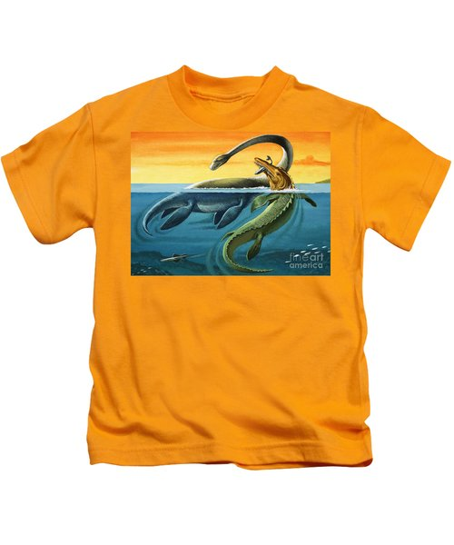 Prehistoric Creatures In The Ocean Kids T-Shirt by English School