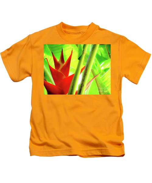Red Heliconia Kids T-Shirt