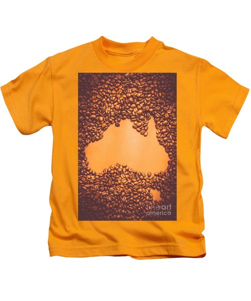 Roasted Australian Coffee Beans Background Kids T-Shirt