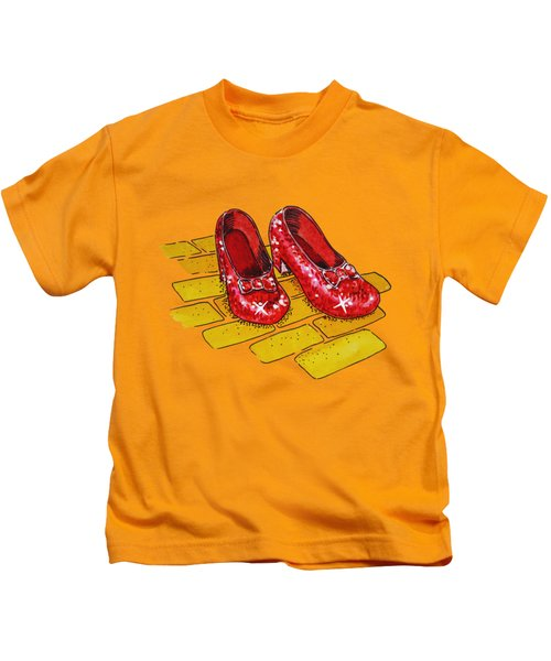 Ruby Slippers Wizard Of Oz Kids T-Shirt by Irina Sztukowski