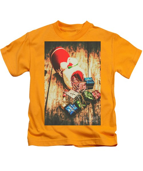Rustic Red Xmas Stocking Kids T-Shirt