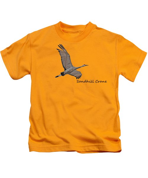 Sandhill Crane In Flight Kids T-Shirt by Whispering Peaks Photography