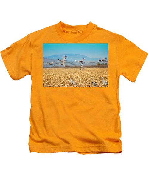 Sandhill Cranes In Flight Kids T-Shirt