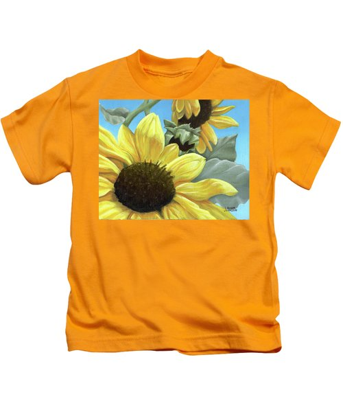 Silver Leaf Sunflower Growing To The Sun Kids T-Shirt