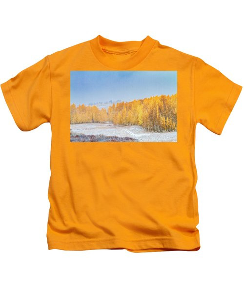Snowy Fall Morning In Colorado Mountains Kids T-Shirt