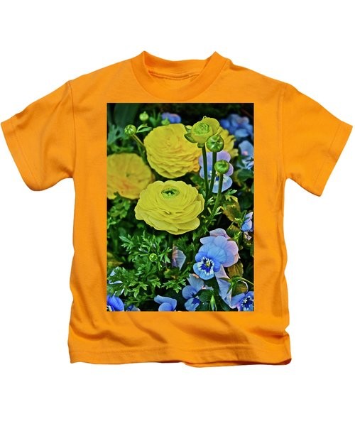 Spring Show 18 Persian Buttercup With Horned Viola Kids T-Shirt