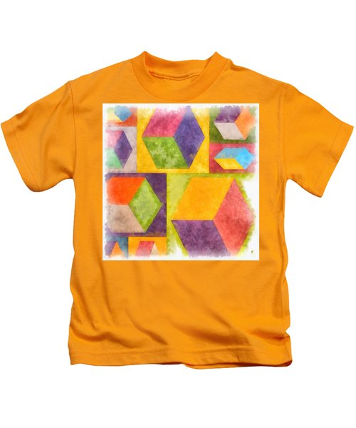 Square Cubes Abstract Kids T-Shirt