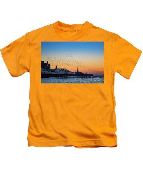 Starlings At Sunset In Aberystwyth Kids T-Shirt