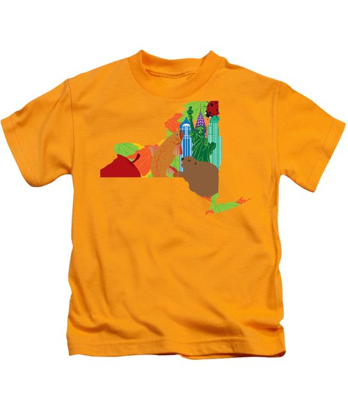 State Of New York Official Map Symbols Kids T-Shirt by Jit Lim