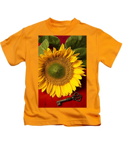 Sunflower With Old Key Kids T-Shirt