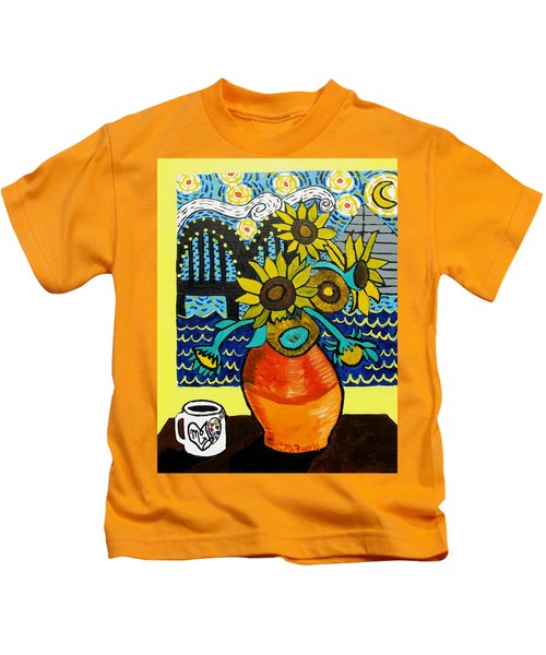 Sunflowers And Starry Memphis Nights Kids T-Shirt