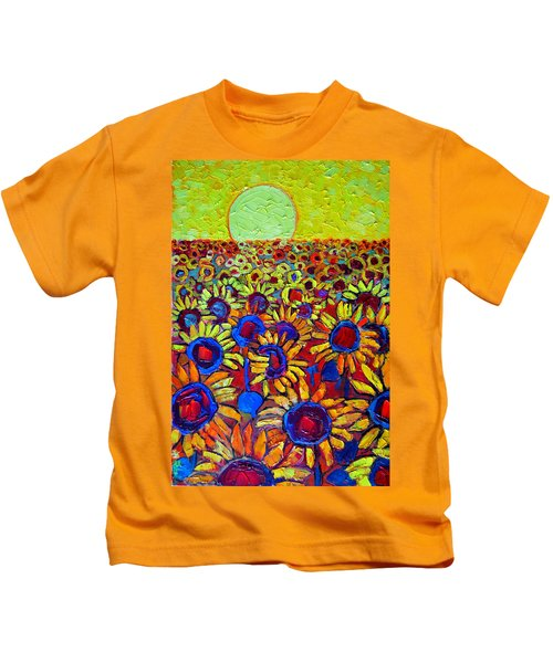 Sunflowers Field At Sunrise Kids T-Shirt