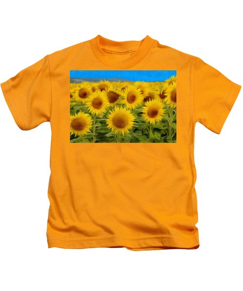 Sunflowers In The Field Kids T-Shirt