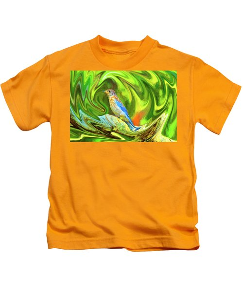 Swirling Bluebird  Kids T-Shirt