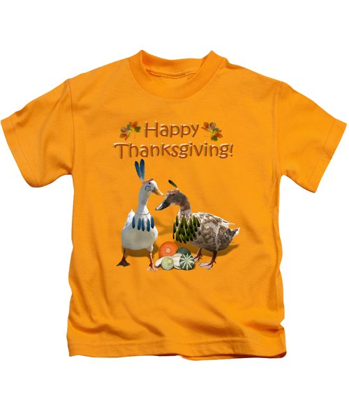 Thanksgiving Indian Ducks Kids T-Shirt by Gravityx9  Designs