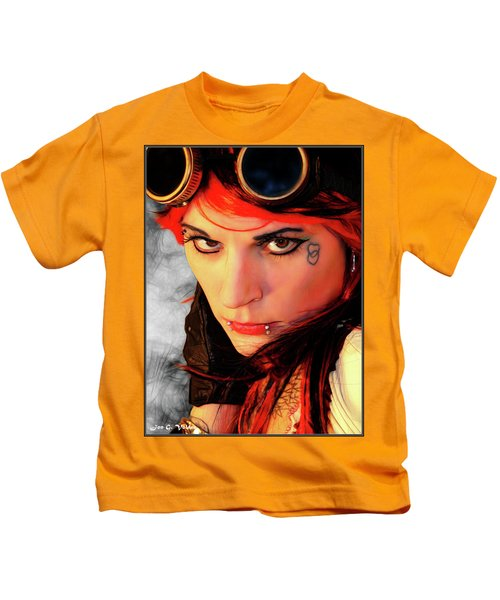 The Gaze Of Steam Punk Vixen Kids T-Shirt