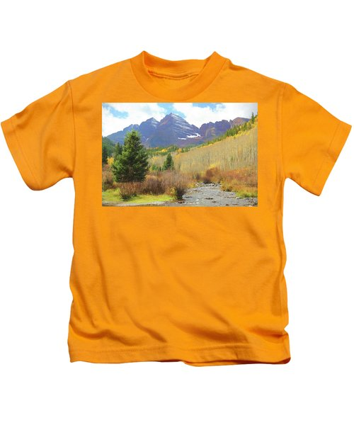 The Maroon Bells Reimagined 3 Kids T-Shirt