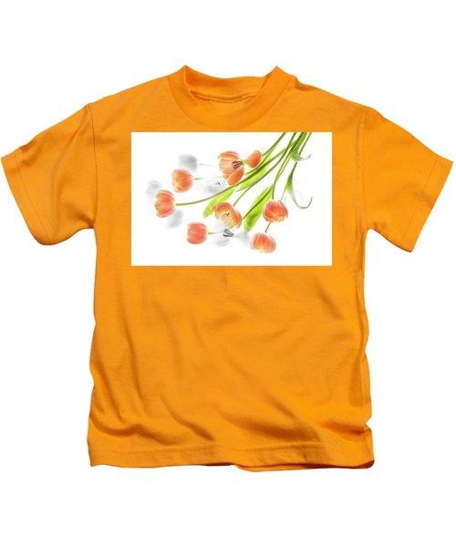 A Creative Presentation Of A Bouquet Of Tulips. Kids T-Shirt