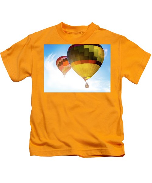 Two Hot Air Balloons Into The Sun Kids T-Shirt