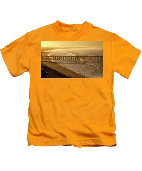 Ventura, Ca Pier At Sunrise Kids T-Shirt