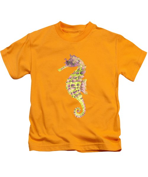Violet Green Seahorse - Square Kids T-Shirt