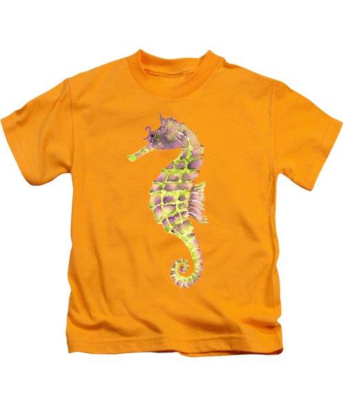 Violet Green Seahorse - Square Kids T-Shirt