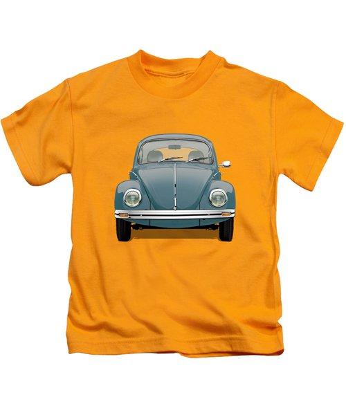 Volkswagen Type 1 - Blue Volkswagen Beetle On Yellow Canvas Kids T-Shirt