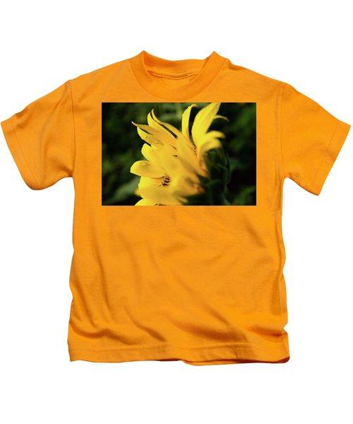 Water Drops And Sunflower Petals Kids T-Shirt