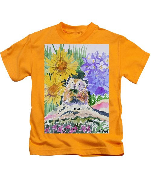 Watercolor - Pika With Wildflowers Kids T-Shirt