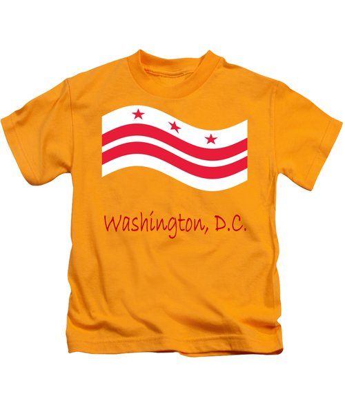 Waving District Of Columbia Flag And Name Kids T-Shirt
