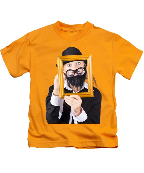 Woman With Empty Picture Frame Kids T-Shirt