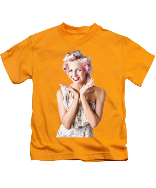 Woman With Rollers In Hair Kids T-Shirt