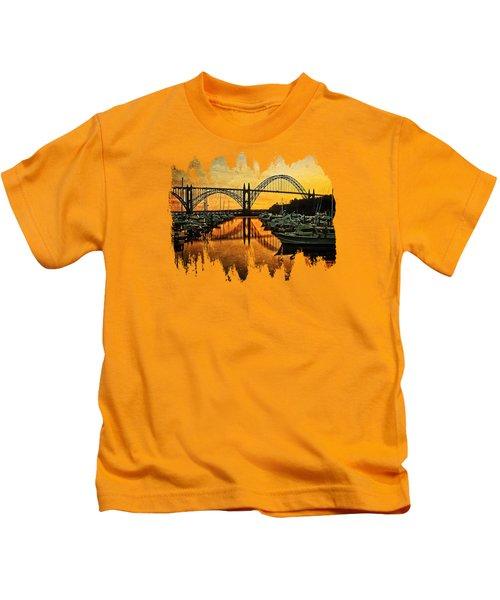Yaquina Bay Reflections  Kids T-Shirt
