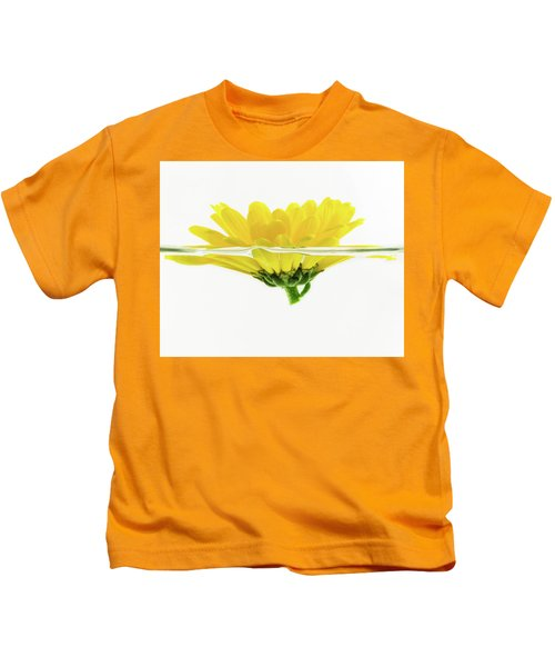Yellow Flower Floating In Water Kids T-Shirt