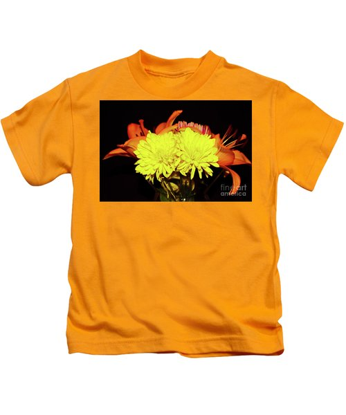 Yellow Mums And Orange Lilies  Kids T-Shirt