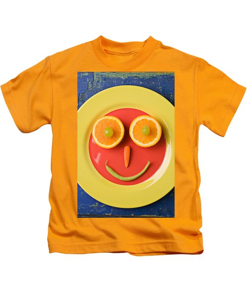 Yellow Plate With Food Face Kids T-Shirt by Garry Gay
