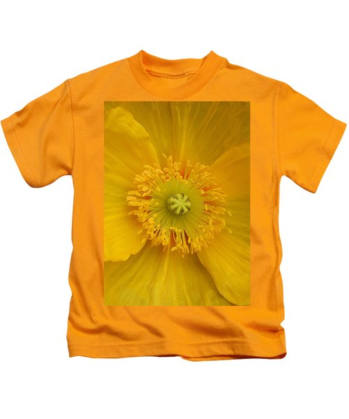 Yellow Poppy Flower Center Kids T-Shirt