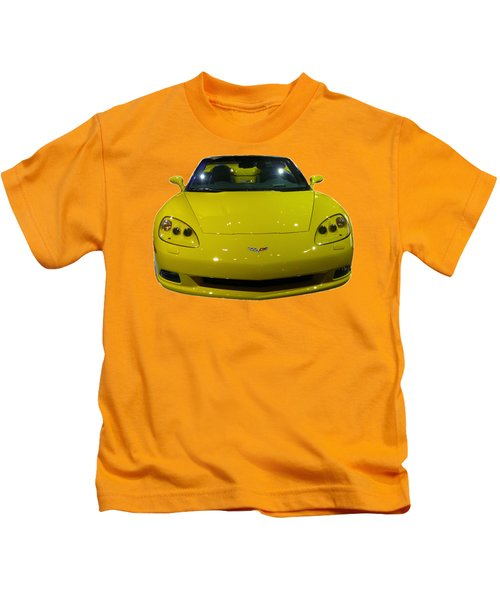 Yellow Sports Car Front Kids T-Shirt