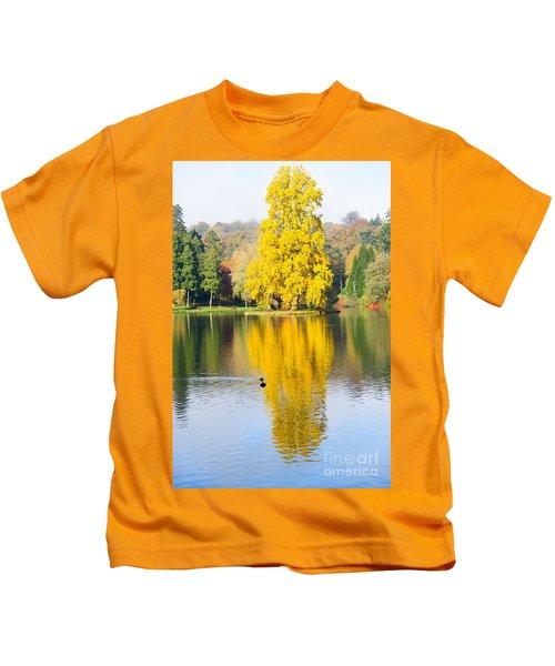 Yellow Tree Reflection Kids T-Shirt